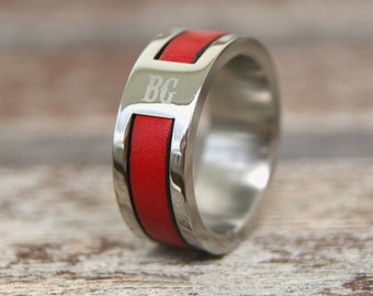 personalized firefighter gift firefighter wife firefighter girlfriend firefighter personalized wedding fireman gift red stainless steel ring - Firefighter Wedding Rings