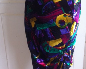 90s GIANNI VERSACE Couture Colourful Asbtract Print  Ruched Pencil SKIRT - Italian 42