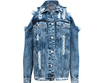 Iced washed Jeans MISSDENIM Jacket Ripped Frayed Studded Patches