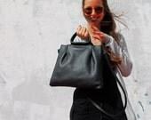 Black leather handbag for women/Leather crossbody bag/Crossbody handbag/Women leather bag/Handmade leather bag/Black leather bag