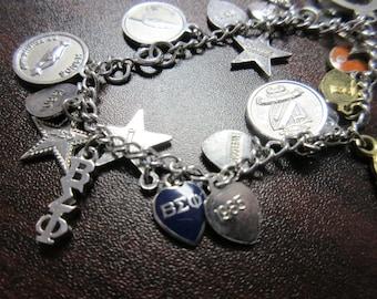 Vintage BEO Beta Sigma Phi Sorority Charm Bracelet 21 charms