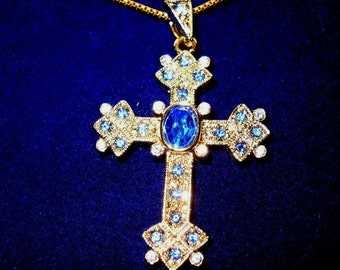 Jackie Kennedy 24K GP Cross Necklace - Blue Queen Mother's Cross with Box and Certificate