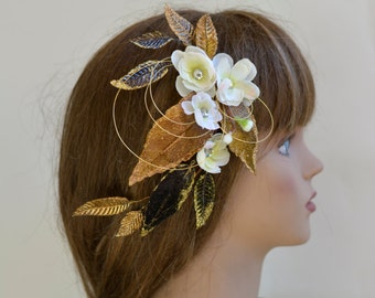 Ivory Gold Bridal Flower Hair Clip Wedding Accessory Bridal Hair clip