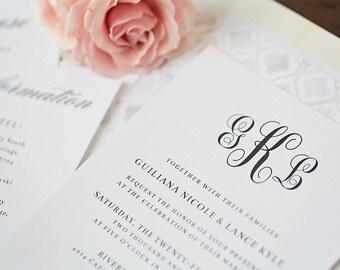 Printable Wedding Invitations \\ Elegant Monogram \\ Printing Available