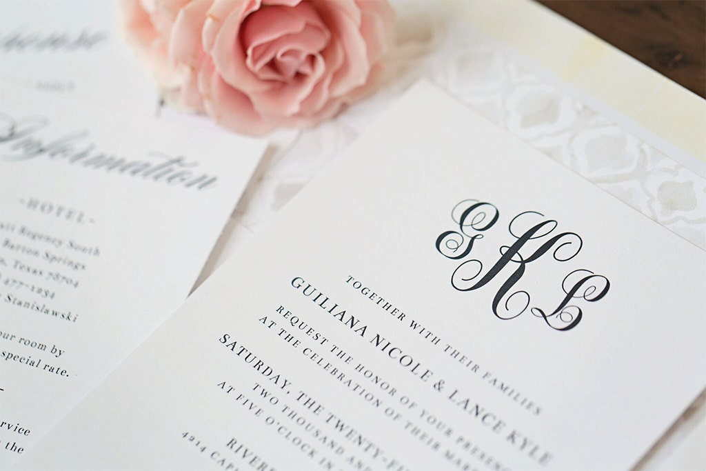 Elegant Monogram Wedding Invitations: Elegant Monogram Wedding Invitations Sample