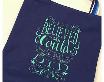 """Tote Bag """"She Believed She Could So She Did"""" Embroidered Tote Bag, Home Deco Fabric, Linen Fabric"""