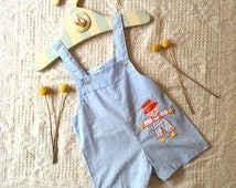 Vintage baby boy blue scarecrow romper onesie. Size 0 / 6-9 months. 80s 90s cuteness.