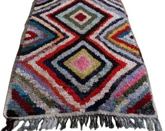 "80""X50"" Vintage Moroccan rug woven using different scraps of used textiles / boucherouite / boucherouette"