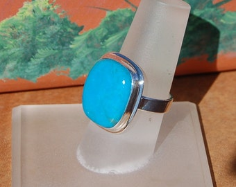 Turquoise Silver Ring Size 6.5