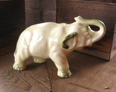 Vintage Pottery Elephant, Trunk Up, Japanese Pottery, Pale Yellow, Cottage Chic, FREE SHIPPING