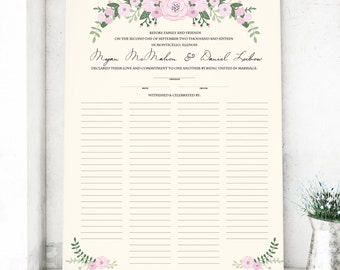 Marriage Certificate with Flowers - Wedding Guest Book alternative - Marriage License Custom with Couples Names