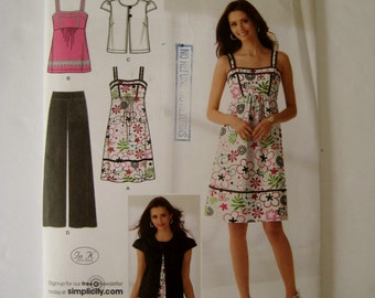 Simplicity Sewing Pattern 2373 Dress Pattern Top Pattern Empire Dress Pants Pattern Jacket Pattern Plus Size 16 18 20 22 24 UNCUT