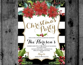 Holiday Party, Christmas Party Black and Gold Glitter Poinsettia Printable Invitation