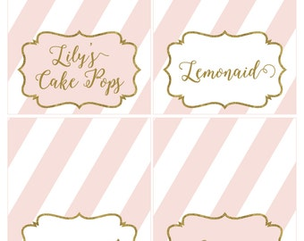 Adobe Reader Editable Food Tent Cards Pink and Gold Glitter - INSTANT DOWNLOAD
