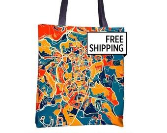 Jerusalem Map Tote Bag - Israel Map Tote Bag 15x15