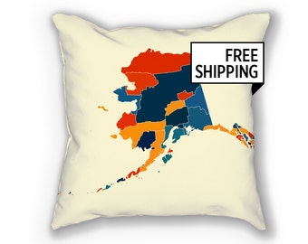 Alaska Map Pillow - AK Map Pillow 18x18