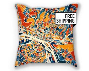 Rouen Map Pillow - Normandy Map Pillow 18x18