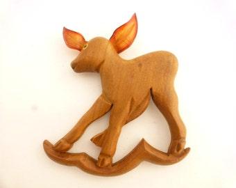 Elzac Carved Wood Deer With Lucite Ears Figural Brooch