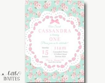Shabby Chic Birthday Invitation/Girls Birthday Invitation/Girls First Birthday Invitation/High Tea Party/Baby Shower Invitation-Cassandra