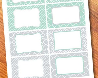 Printable Labels Mint/Gray