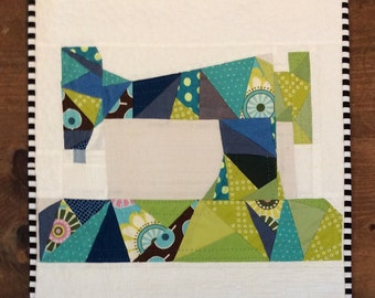 Sewing machine quilt , Quilted Art, quilted wall hanging, home decor, fabric art