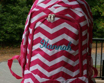 Girls Monogrammed Backpack Pink Chevron Girls Personalized Bookbag