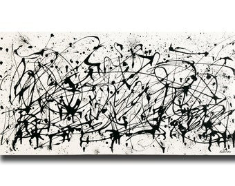 "Large contemporary black white Abstract painting 24""x48"" acrylic on Gallery canvas ""3016BW"" by K. Davies"