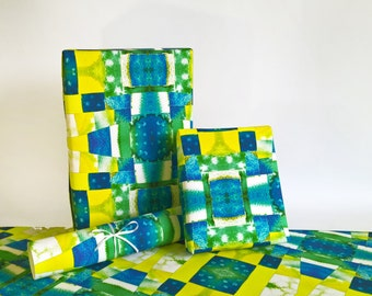 gift wrapping paper roll  printed abstract blue yellow watercolor MOSAIC 24x33 inch A1 size - set of 3 sheets