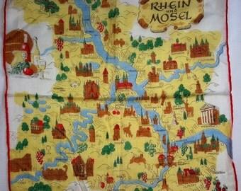 Vintage Rhein and Mosel Souvenir Map Handkerchief