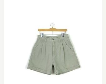 STORE WIDE SALE Vintage Light Beige/Oatmeal High Waist Flare Denim Shorts/W28*