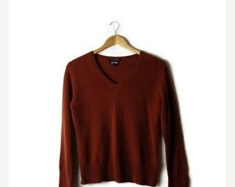 ON SALE Plain Orange Brown  Pure Cashmere V-neck Long sleeve Sweater*