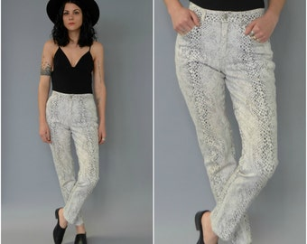 1980s 90s high waisted snake printed skinny jeans - size 29
