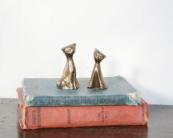 Vintage Brass Figurine Cats ~ Cat Figurines