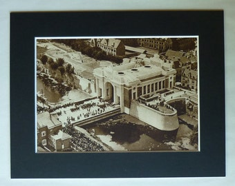 1930s Antique Ypres Print of the Menin Gate Memorial, War Veteran Decor, Available Framed, WWI Art, Architectural Picture Arch Architecture