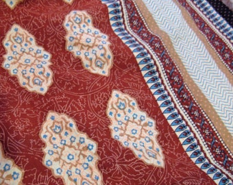 """Vintage Cotton Batik India Fabric Spread, 63 x 108"""", Tawny Brown, Teal and Cream"""