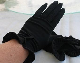 Van Raalte Wrist Length Black Dress Gloves Ruffled at the Wrist