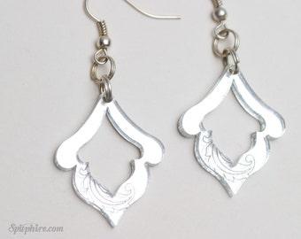 Mirror Silver Damask Earrings - Laser Cut