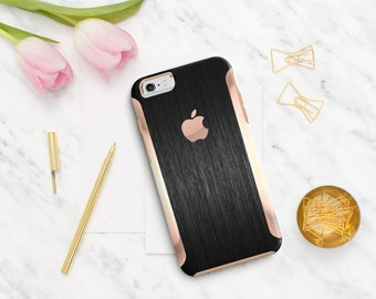 Platinum Edition Brushed Black with Rose Gold Detailing Hybrid Hard Case Otterbox Symmetry iPhone 6 / iPhone 7 / Galaxy S7 / S7 Edge