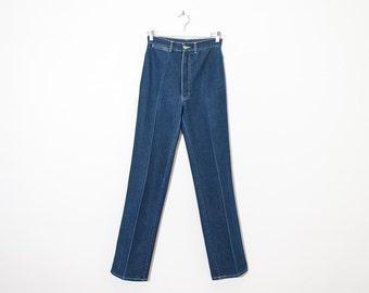 on sale - high waist straight leg jeans / blue medium wash pleated denim / size 25