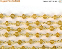 35% Valentines Day One Foot Beautiful Citrine, 4mm 24k gold Plated wire wrapped Rosary Chain by foot .(Gpct-30003)