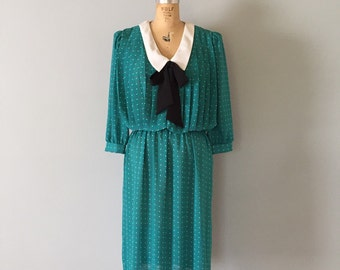 vintage 80s bow day dress | turquoise green dress