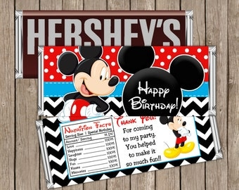 Instant Download - Printable Mickey Mouse Hershey Birthday Candy Bar Wrapper, Happy Birthday Candy Bar Wrapper Digital File