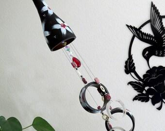 Wine bottle windchime, Black wind chime, White, Red and Blue flowers, yard art, patio decor, recycled bottle wind chime, hand painted chime