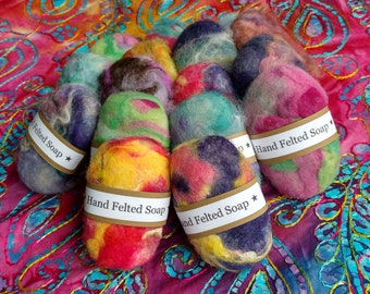 50 felted wool soaps, bulk listing, wholesale, felted by hand, assorted colors,  Oregon, Pacific Northwest