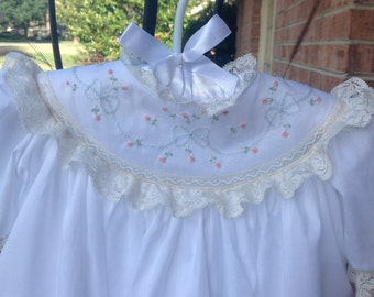 Round Yoke Dress with Hand Embroidered Bows and Roses