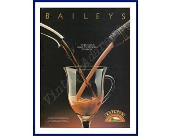 "BAILEYS IRISH CREAM Original 1990 Vintage Color Print Ad - ""When Guests Arrive, It's Important To Mingle."""
