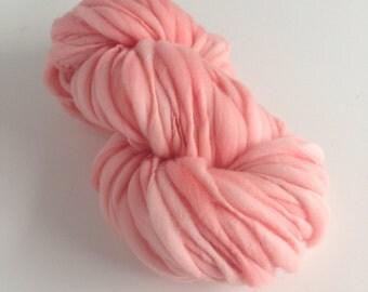Handspun Thick and Thin Merino Yarn - 50 yds - Carnation Pink