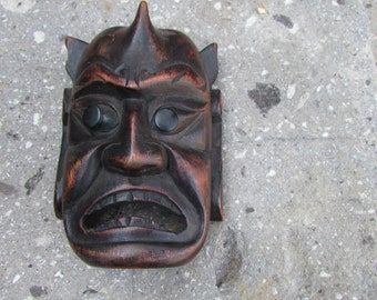 Carved Wooden Devil Demon Mask Small Size Asian