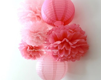 SALE - Pretty in Pink - 4 Tissue Paper Pom Poms plus 2 Paper Lantern - Fast Shipping Wedding / Baby Shower / Birthday Party / Nursery Decor