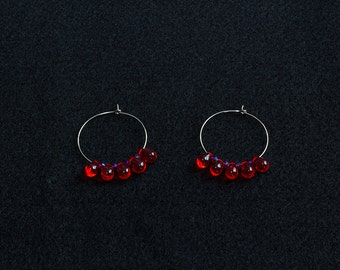 "2"" Silver Hoops with Red Drops and Crystals"